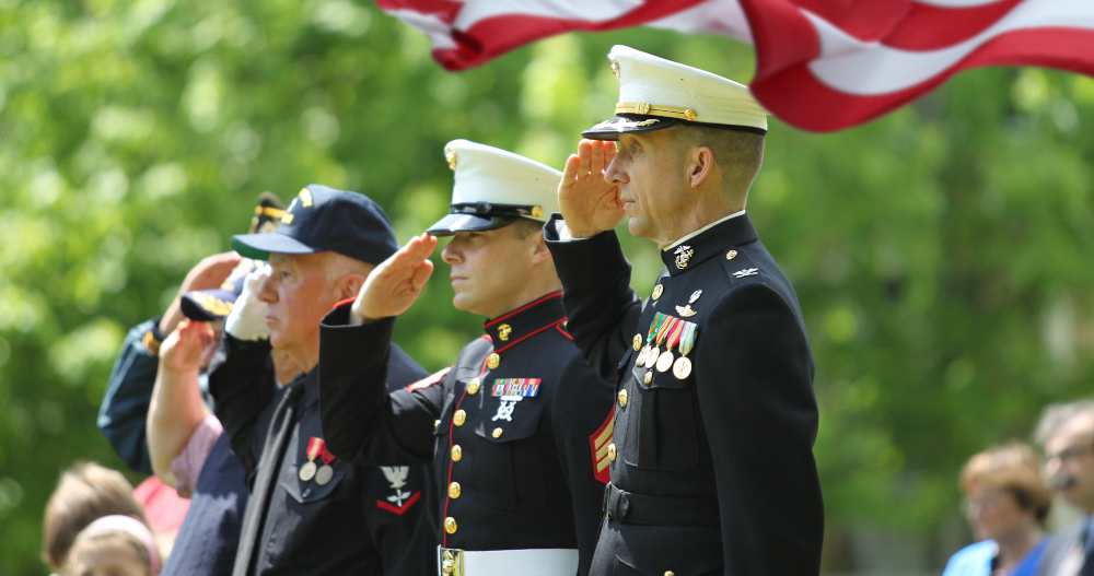 Veterans with flag